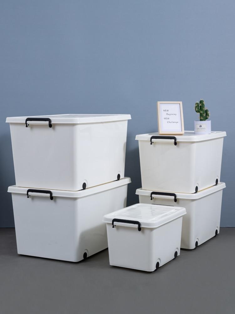جديد صندوق تخزين البلاستيك الأبيض سميكة الملابس تخزين اللحاف صندوق تخزين صندوق تخزين مع عجلات اضافية كبيرة