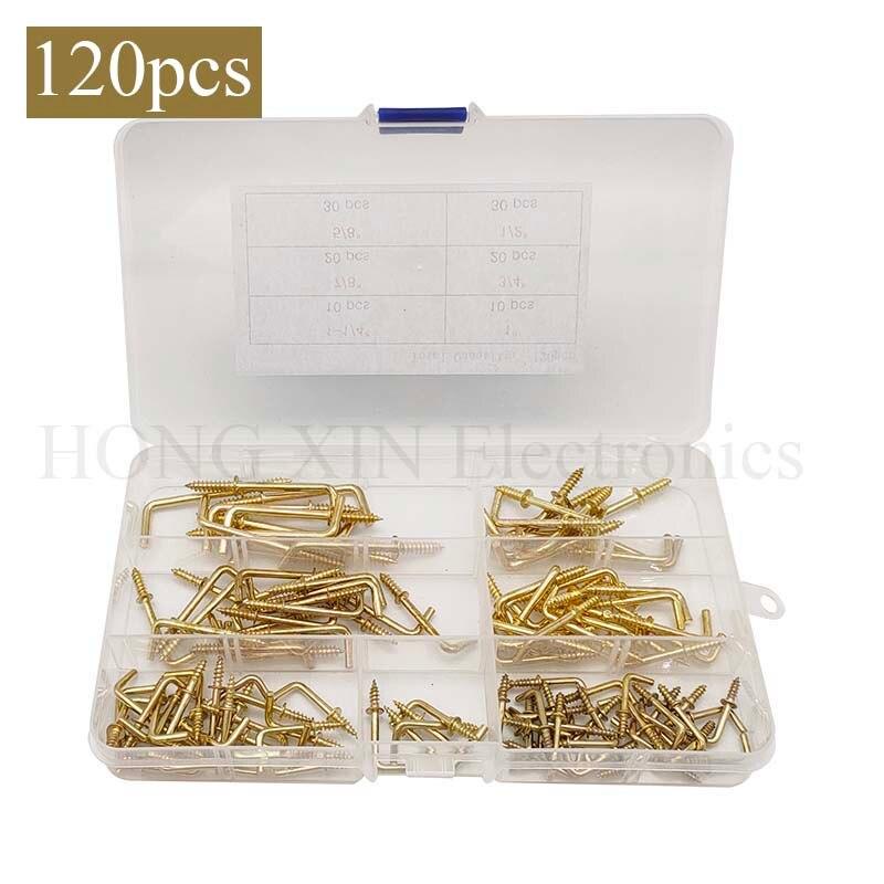 120 шт. 6 размеров позолоченные латунные Металлические винтовые квадратные сгибаемые Крючки набор золотых квадратных сгибающихся крючков са...