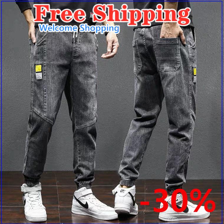 Jeans boys fashion brand 2021 cargo pants loose trend casual joker pants baggy jeans Men's clothing Trousers for men zipper