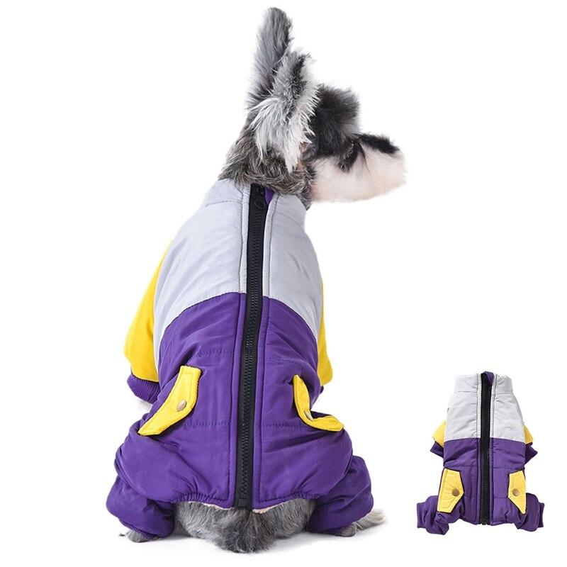 Ropa de invierno para perros mascota con cremallera impermeable mono abrigo para mascotas plumón chaquetas cachorro Chihuahua Yorkshire Patchwork ropa