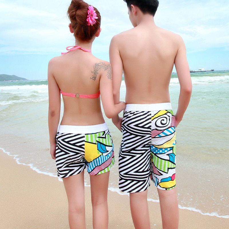 Casual shorts couple beach pants large size loose flower five pants quick dry beach holiday casual comfort shorts maternity enlarge