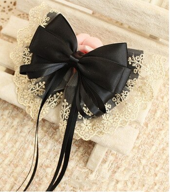 Lace hair accessories trend leather rope multicolor cute bow ribbon ribbon duckbill clip hair ring spring clip handmade HDJ020