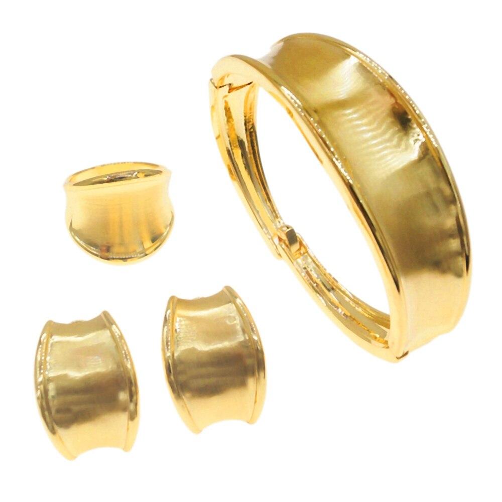 أفضل بيع البرازيلي مطلية بالذهب لامعة مجوهرات ثلاث قطع خاتم القرط سوار امرأة مأدبة هدية B0021