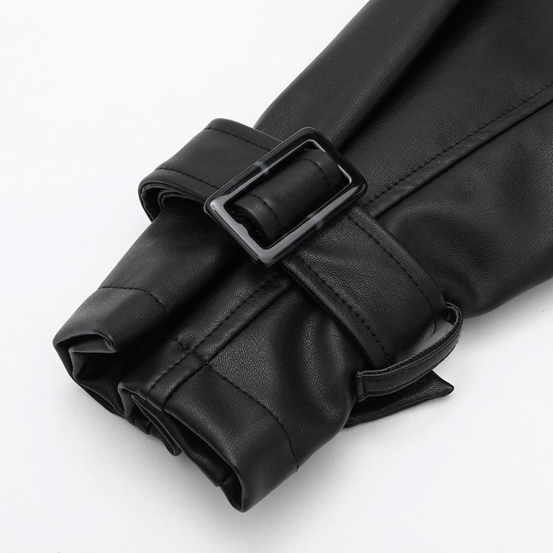 Korean Black Loose Version Slim Stand Collar Leather Jacket Women's Short 2021 Fashion Spring New Drawstring Strap Pu Coat enlarge