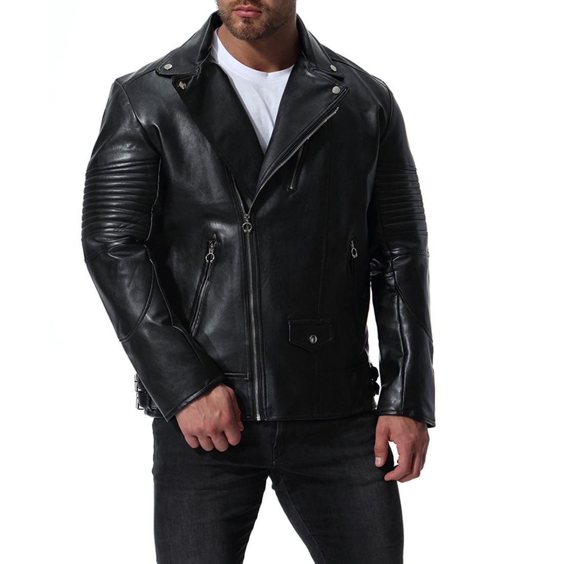 2019 Fall and Winter Newest M-5xl Large Size Locomotive Pu Leather Black Color Suit Men's Leather Jacket Coat Jaket Men