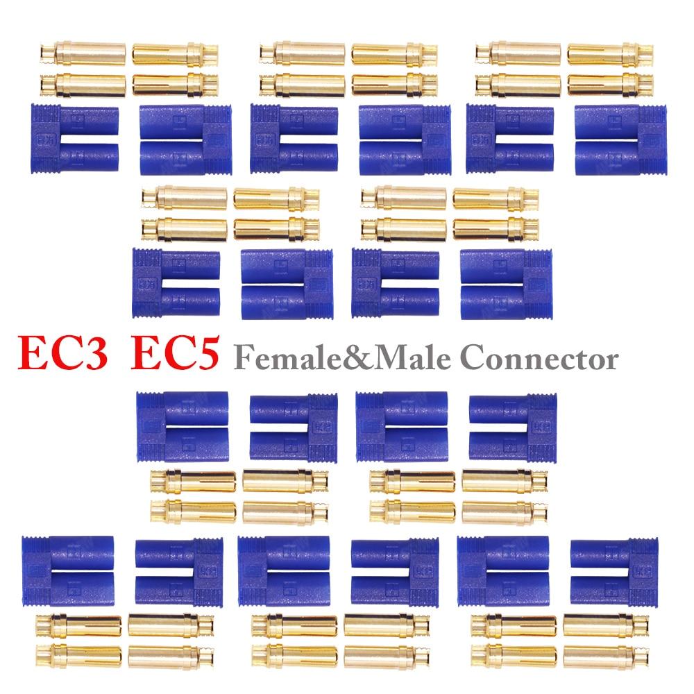 5set/Lot EC3 3mm/EC5 5mm Male Female Golden Bullet Connector Plug For RC ESC Motor Lipo Battery Car