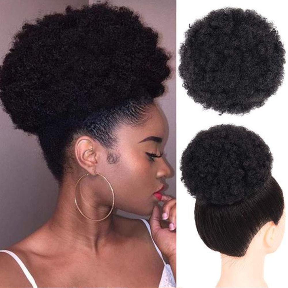 Puff Afro Curly Chignon Wig Drawstring Ponytail Short Afro Kinky Pony Tail Clip In on African Synthe