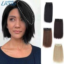 Lativ-Pinzas sintéticas en el cabello para mujer, postizos rectos cortos para adelgazar, añadir volumen al cabello