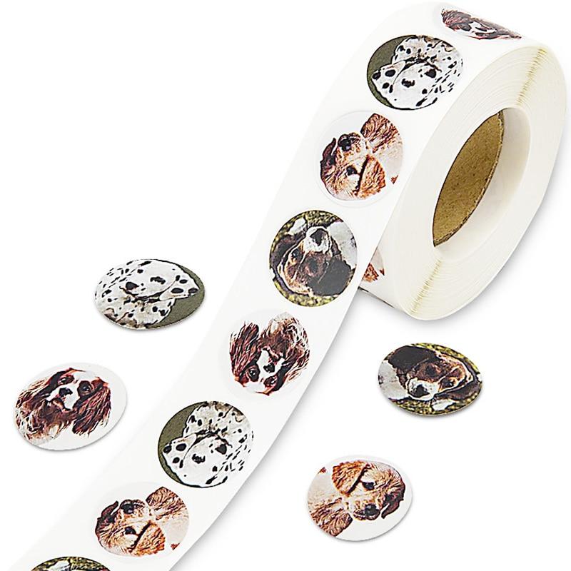 500 Uds. Etiquetas de sello de pegatinas de perro bonito Animal creativo 1 Etiqueta de recompensa maestro de escuela niños Scrapbooking adhesivo de papelería roll