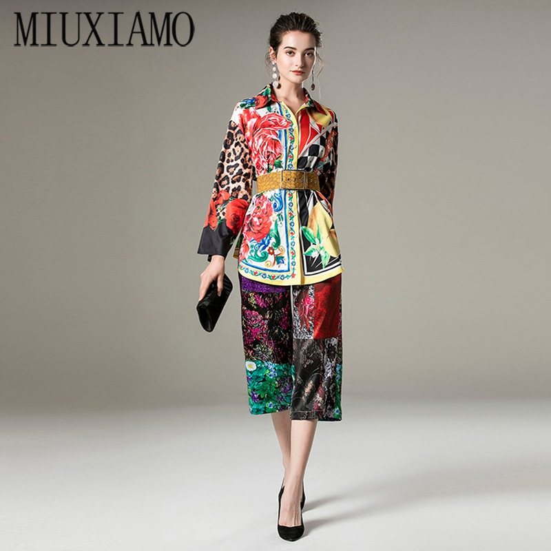 MIUXIMAO-بلوزة وبنطلون ، طباعة زهور ، أكمام طويلة ، حزام ، مكتب ، مجموعة ربيع-خريف 2021