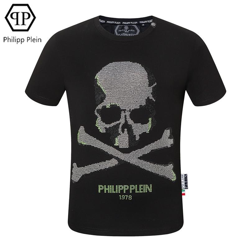 Philipp Plein- original design men's T-shirt biochemical skull hot diamond short-sleeved T-shirt sum
