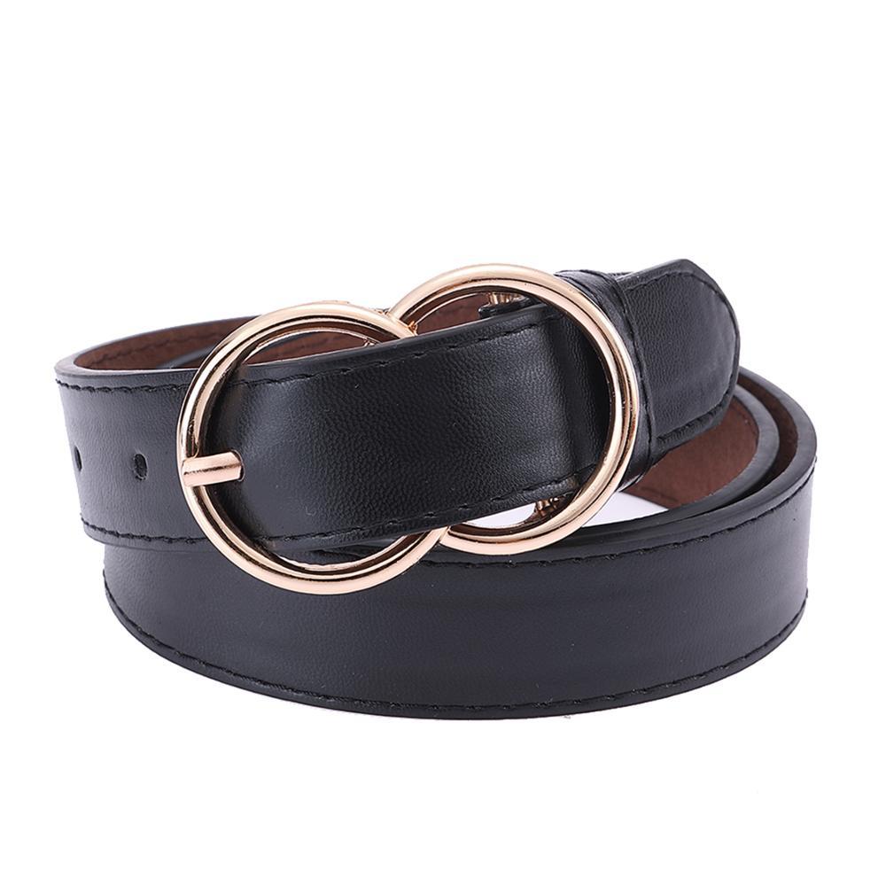 Fashion Women Faux Leather Belt 2019 Pin Buckle Vintage Waist Straps Luxury Double O Designer Lady Classic Female