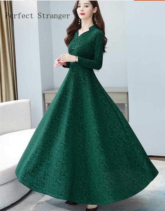 2020 Autumn New Arrival High Quality Hot Sale Cheongsam Style V Collar  Solid Color Long Sleeve Women Long Dress