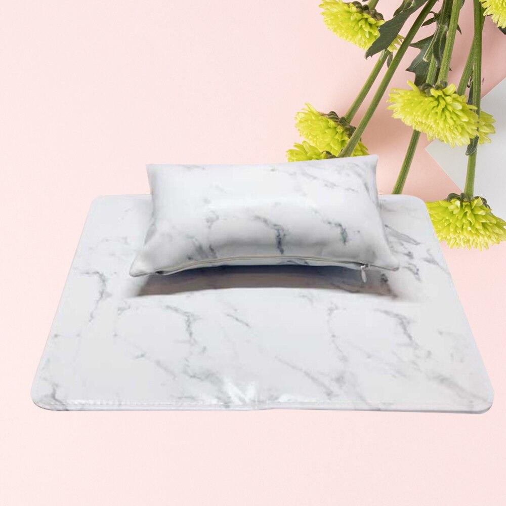 Almofada de Mão Resto da Esteira Marbling Braço Travesseiro Conjunto Antiderrapante Resistente Sujeira Dobrável Suporte Arte Acessórios Manicure Branco Mão