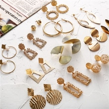 Hot Sale Gold Drop Earrings Jewelry Earrings For Women C Shaped Round Geometric Earring Female Fashion Jewelry Gifts