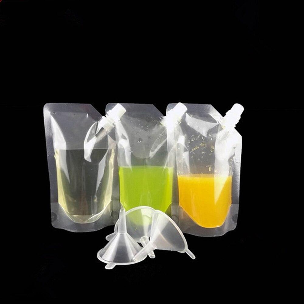 20 piezas reutilizables beber frasco bolsa de jugo con embudo transparente acampar al aire libre fiesta ocultar licor bolsa TJM9114
