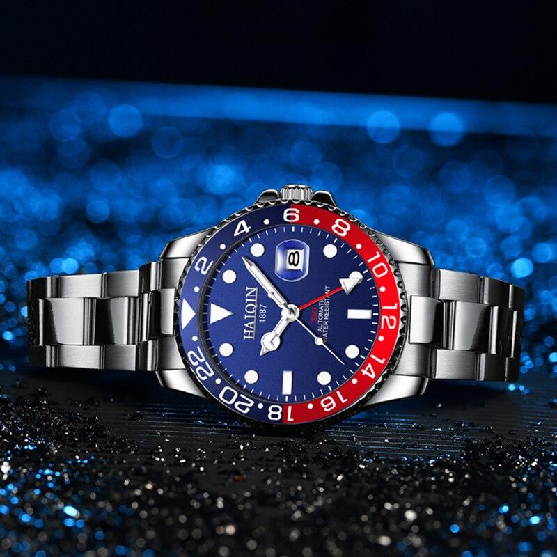 HAIQIN تصميم GMT الرجال الفاخرة التلقائي ساعات آلية الحافة السيراميك 100 متر مقاوم للماء الرجال ساعة معصم Relogio Masculino 2021
