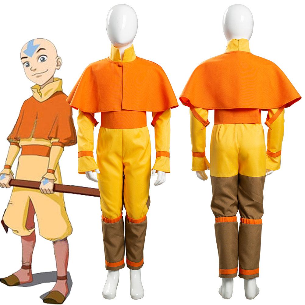 Avatar: The Last Airbender Avatar Aang Cosplay-بدلة أطفال للبالغين ، أزياء كرنفال الهالوين