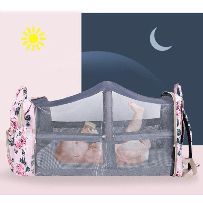 حقيبة ظهر للسفر للأمهات مع سرير للأمهات مع حقيبة تغيير لحفاضات الأطفال الرضع