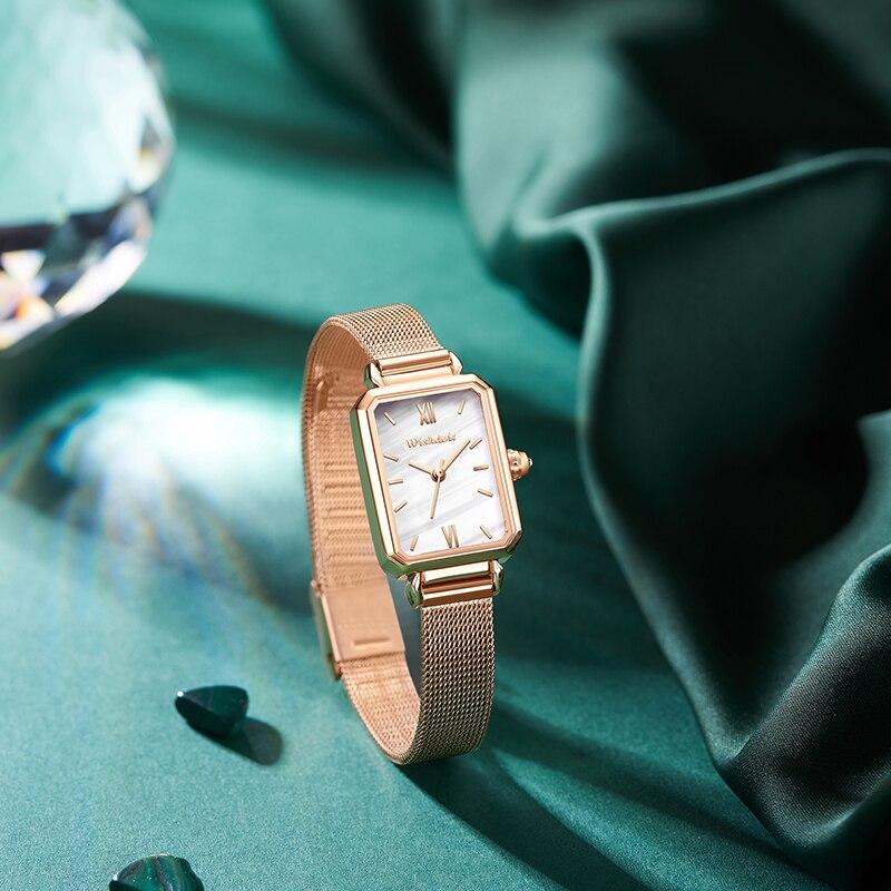 WISHDOIT-ساعات نسائية ، ساعة يد نسائية ، كوارتز ، مقاومة للماء ، قرص صغير مستطيل ، مجموعة جديدة