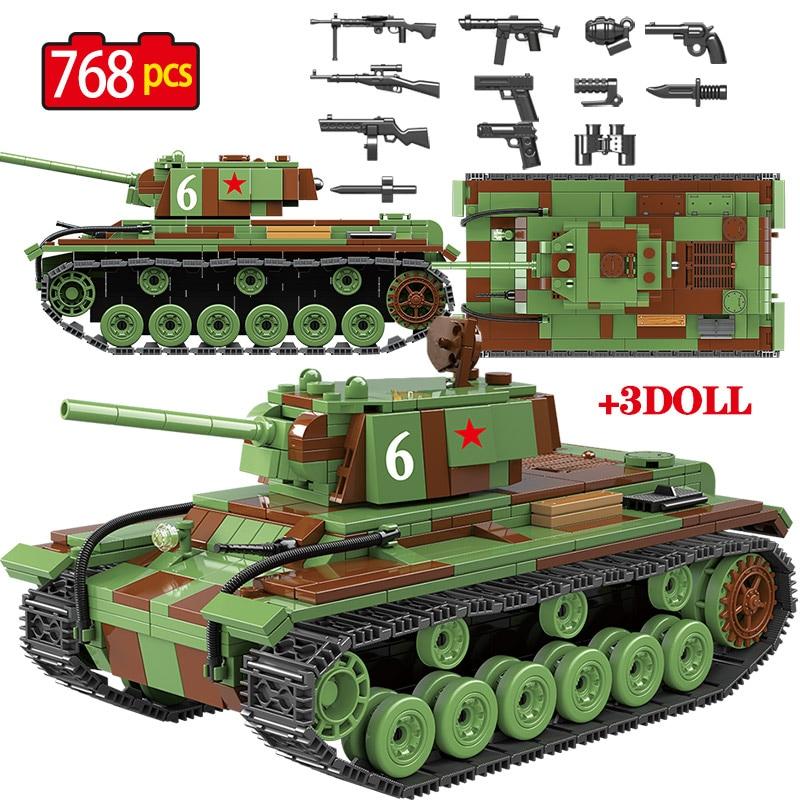 768 Uds. Tanque de bloques de construcción militar soviético Rusia KV 1 Ciudad WW2 soldado policía arma figuras ladrillos juguetes para niños