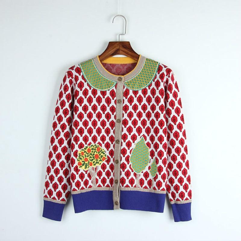 High-end Quality Cardigan Women Autumn Sweater Luxury Designer Jacket Long-sleeved Leaf Tree Knitted Pattern Blouse Women enlarge