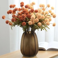 1 pcs 5 head dandelion small ball mini ping pong chrysanthemum artificial flowerplant home garden wedding party shop decoration