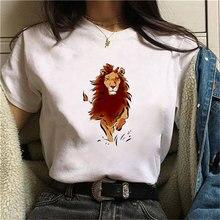 Women Tshirts 90S Summer Lion Printed T-Shirts Women fashion Graphic Tees Fashion  Women Tops Funny