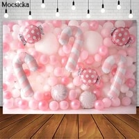 pink sweet candy balloon wall backdrop for photography girl birthday baby shower portrait photo props studio booth background
