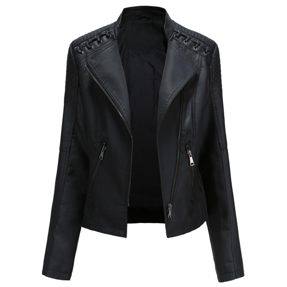 Spring Autumn Ladies Motorcycle Leather Jackets Women Turn-down Collar Zipper Slim Black Moto & Biker Jacket Plus Size Female