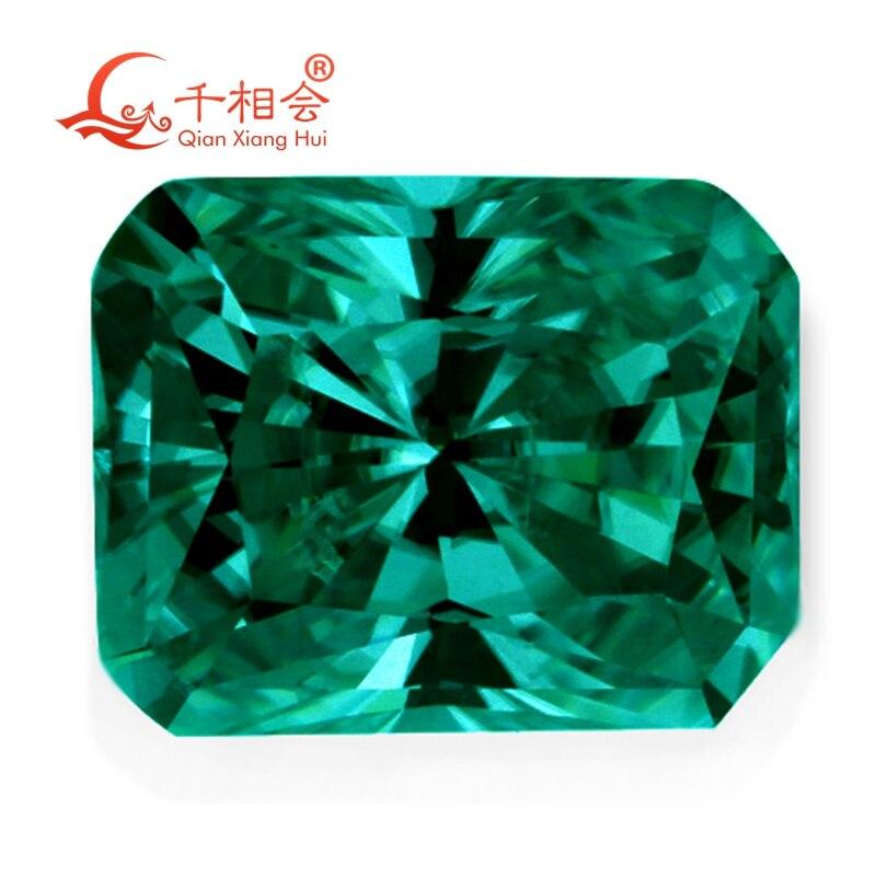 Зеленый цвет retangle форма em erald cut Форма Sic материал Муассанит свободный камень