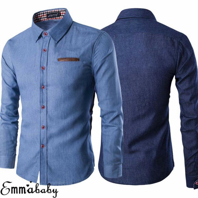 Brand 2021 New Men's Casual Slim Fit Stylish Wash Denim Long Sleeves Jeans Shirts Smart Casual Fashion Men Clothes M-XXXL