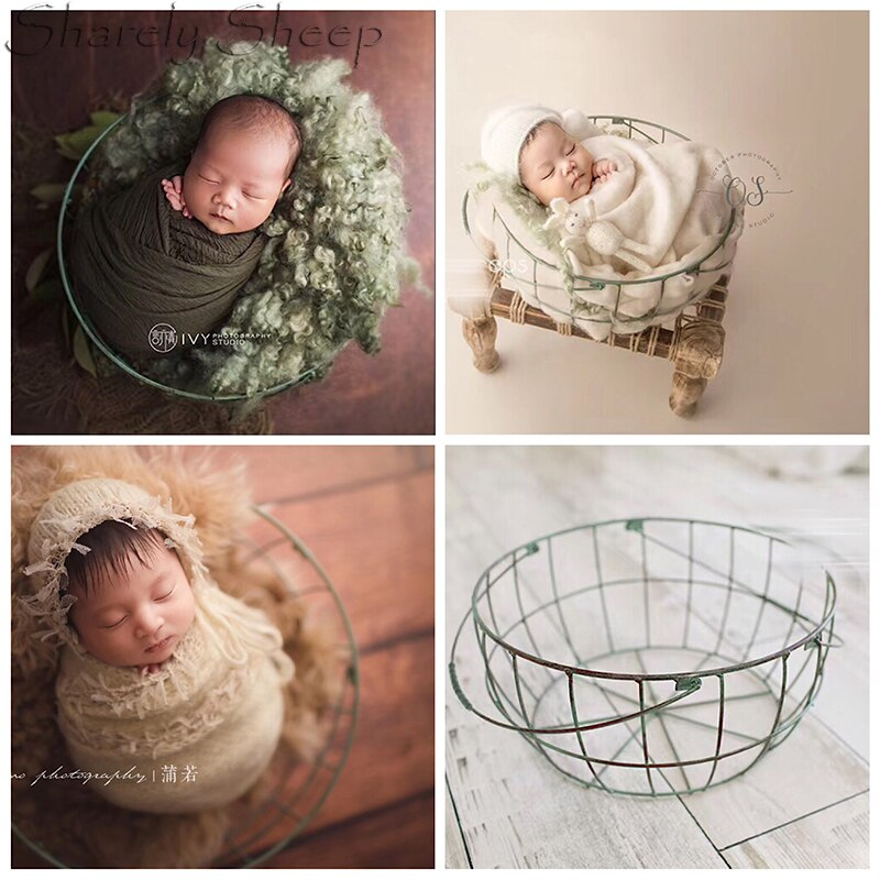 Newborn Photography Props Basket Baby Photo Shoot Posing Iron Bed Infant Picture fotoshooting Accessories Baby shoot Basket Prop