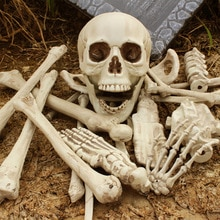 Halloween squelette os 28 pièces Simulation os humains maison hantée accessoires dhorreur jouets délicats os crâne Halloween décoration