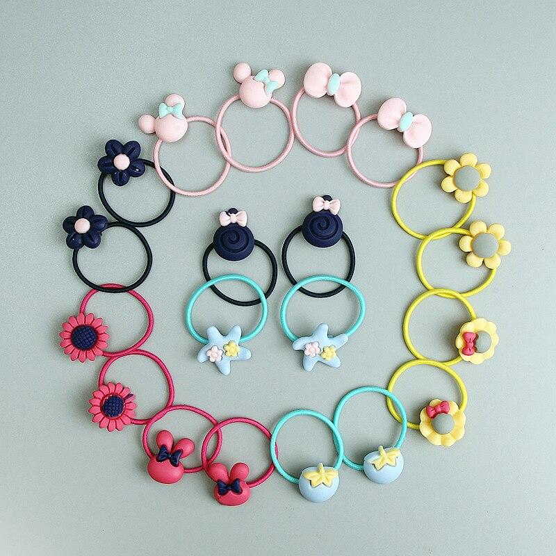 Set de 20 Uds de accesorios para el cabello de niñas con Orejas de conejo y lazo de dibujos animados, Mini diademas de goma para bebés, Anillo para el pelo con banda de goma para niños
