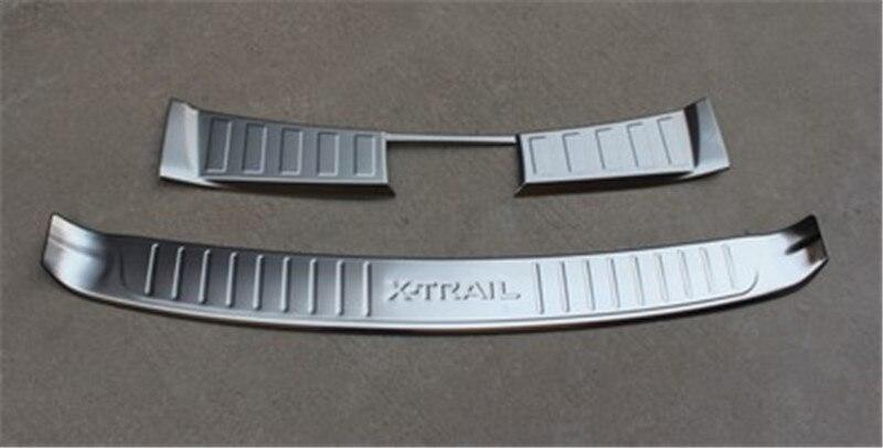 الفولاذ المقاوم للصدأ مانع صدمات خلفي للسيارة حامي عتبة جذع الحرس غطاء الكسوة لنيسان X-Trail X Trail T32 2014-2016 التصميم الخلفي