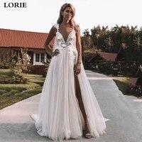 lorie boho wedding dress 2020 3d appliqued side split lace bride dresses vestidos de novia wedding bride gowns