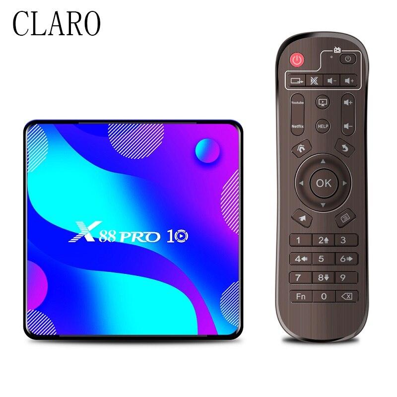 CLARO Newest X88 PRO Smart TV Box  RK3318 Quad Core Set Top Box 4k HD Wifi Bluetooth 4GB 64GB PlaySt