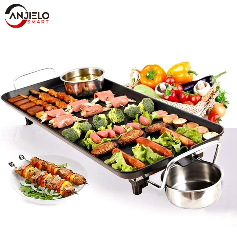 1600w electric shabu roasted pot multifunctional electric pan grill bbq grill raclette grill electric hotpot with grill pan Anjielosmart Smokeless Barbecue Grill Electric Multifunctional Household Hot Plate Non Stick Adjustable Temperature BBQ Pan
