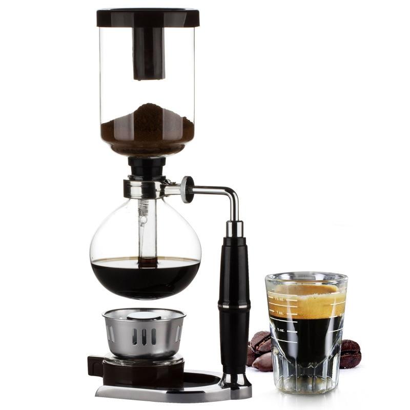 Máquina de café de sifón de estilo clásico japonés, tetera de sifón, cafetera al vacío, tipo de cristal, filtro para máquina de café Kahve Makinas 3cup