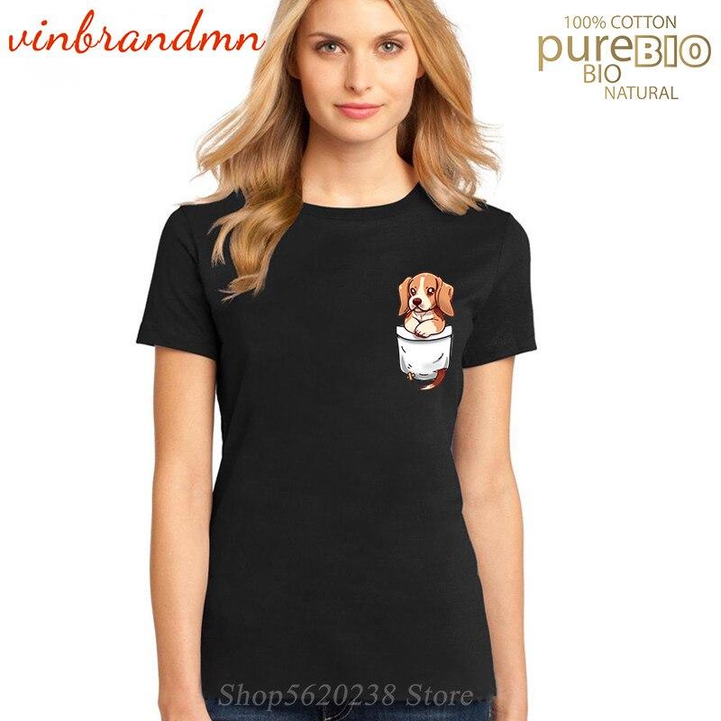 Poche mignon Beagle dames imprimé Vogue t-shirts Hipster Beagle poche T-Shirt coton manches courtes t-shirts de haute qualité Camisetas