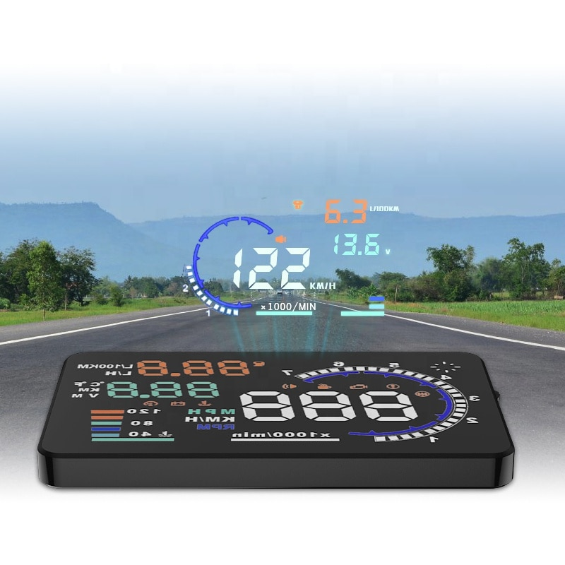 Most Popular manufacturer top Selling drive-wireless charger head up display for any car OBD2 Speedometer Display  - buy with discount