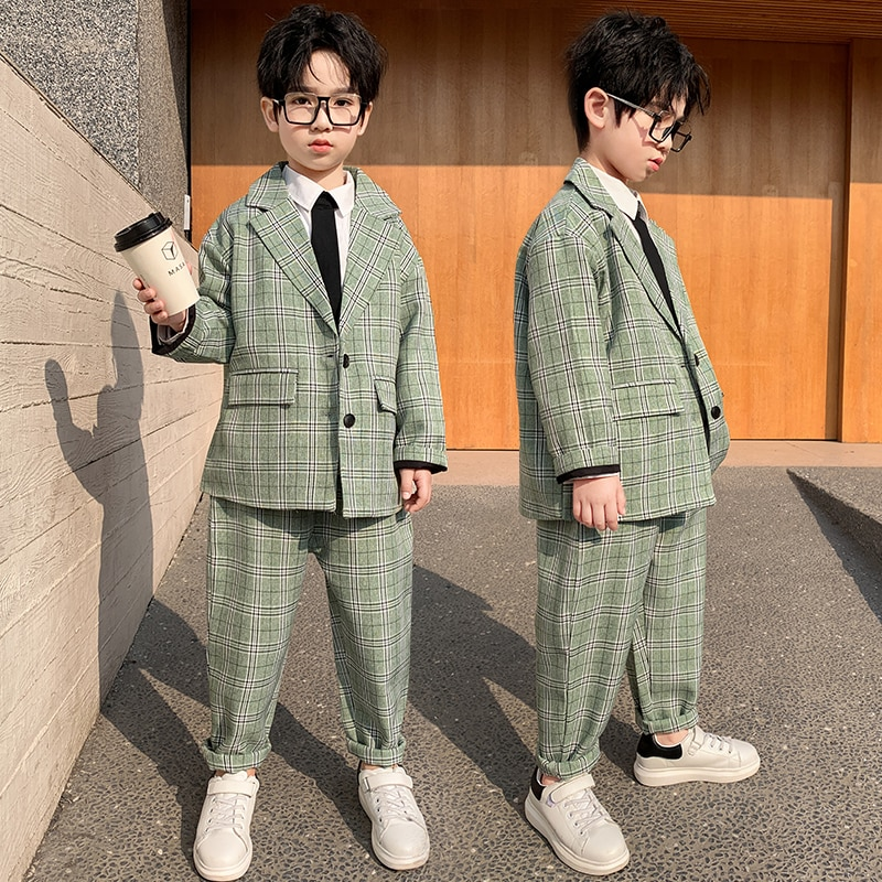 Clothing Set Boys Clothes Plaid Top + Pants Casual Suit Clothing Sets Kids Birthday Suits Children Kids' things Boys Wedding Set