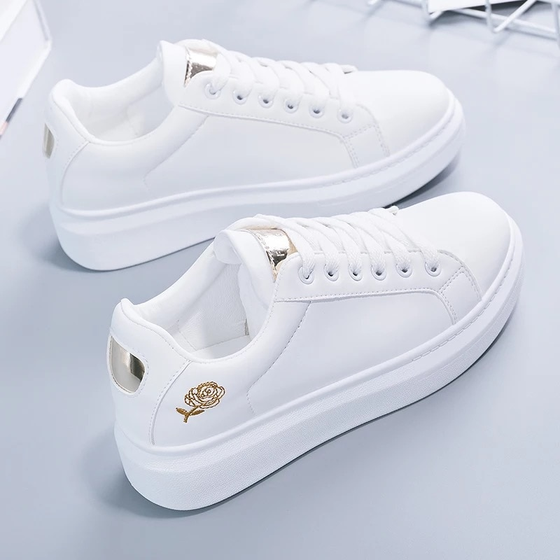 Lace-up White Shoes Women's PU Leather Solid Color Women's Shoes Casual Women's Shoes Sports Shoes casual lace up color splice skate shoes