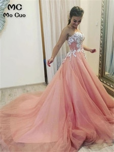 Stylish Long Prom Dresses Evening Gown with White Lace Appliques Sweetheart Tulle Vestido de festa Women prom dresses