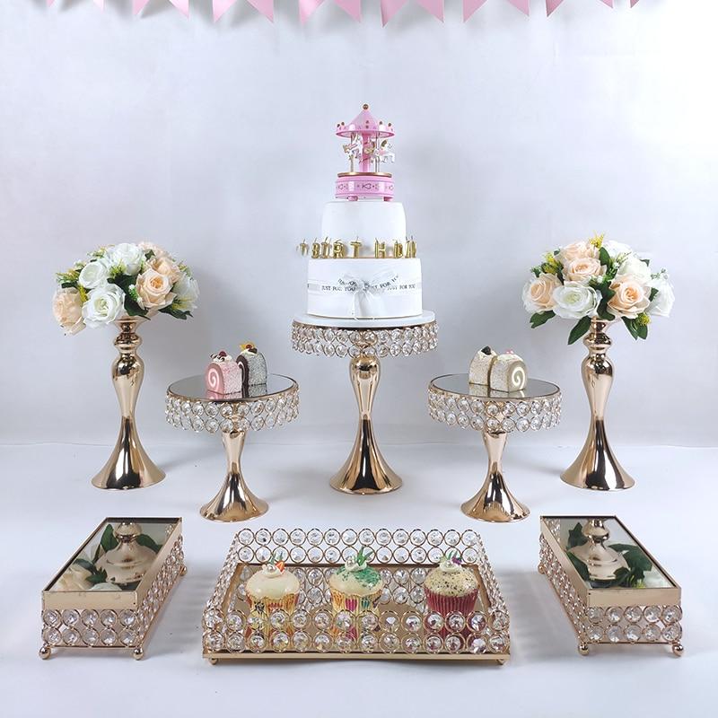 عرض الكيك المعدني الذهبي المرآة ، لوحة العرض المستديرة لحفلات الزفاف وأعياد الميلاد ، الحلوى ، الكب كيك ، الديكور المنزلي