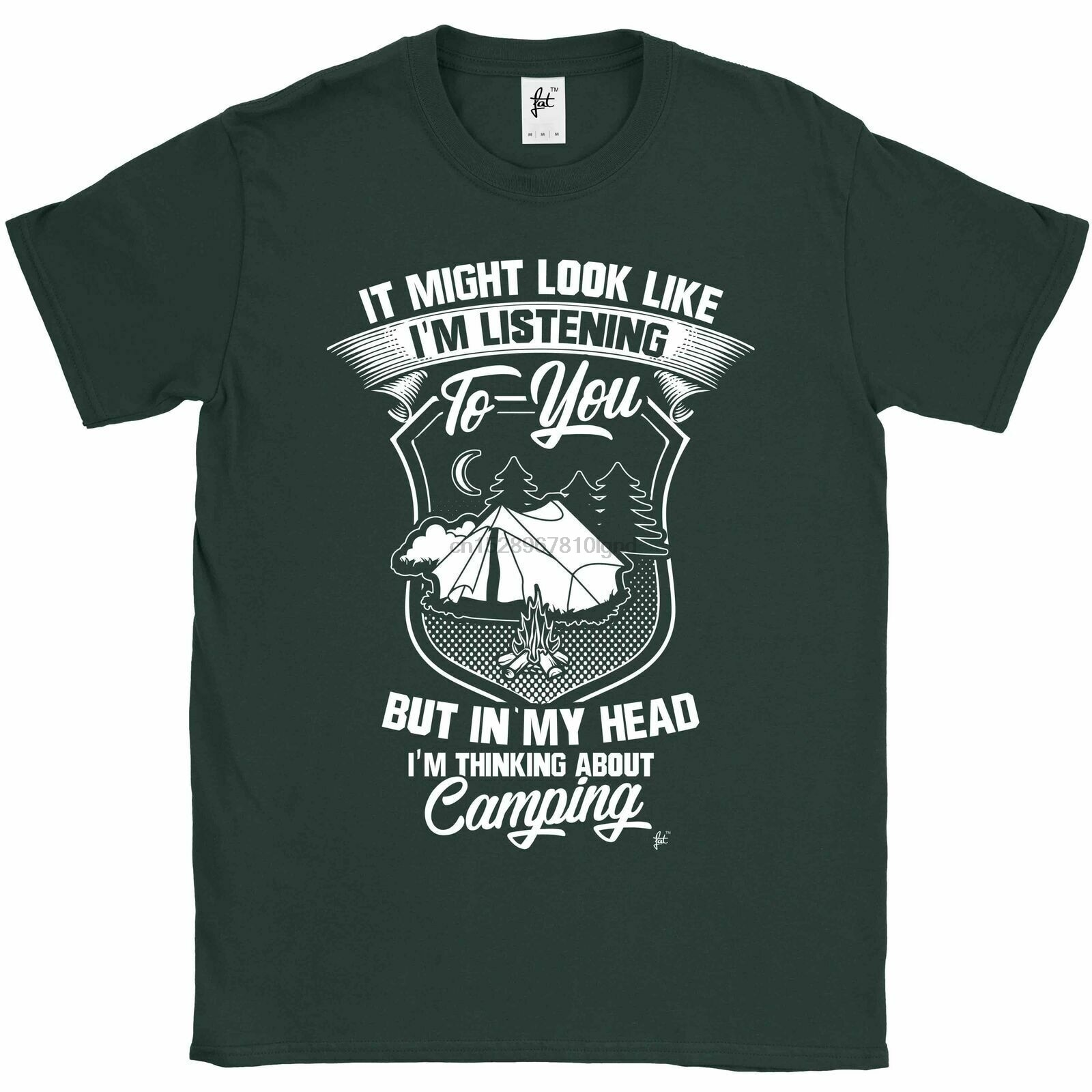 Mira como estoy escuchando, pero estoy pensando en Camping Mens T camisa