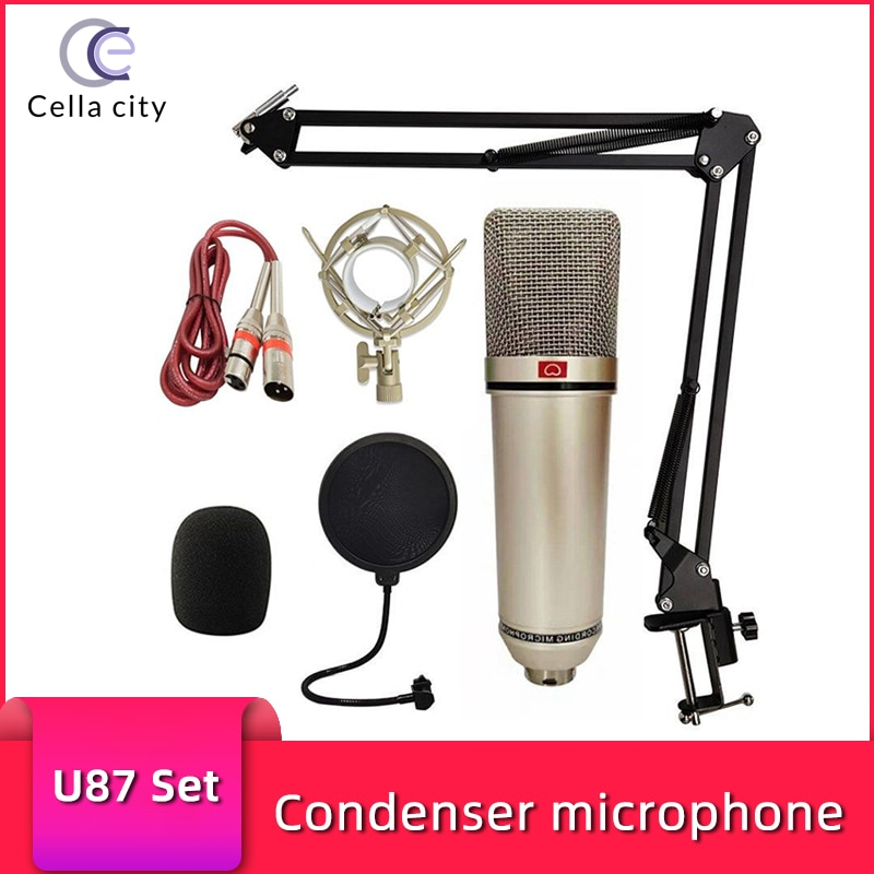 CELLA CITY U87 المهنية مكثف ميكروفون 26 مللي متر/34 مللي متر كبير الحجاب الحاجز XLR Mic تسجيل استوديو المعدات بث مباشر