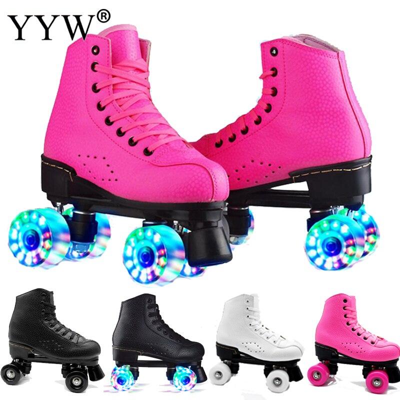 Rosa rosa patins de couro linha dupla patins mulher adulto dois linha sapatos patines com plutônio branco 4 rodas patinas