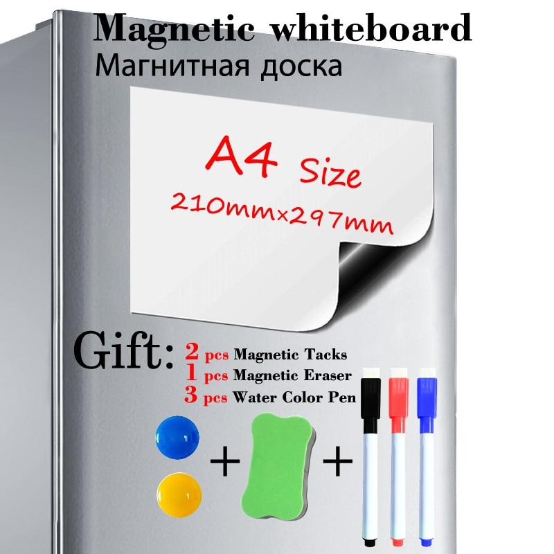 Магнитная доска размера A4, наклейка на холодильник, магнитная белая доска для сухого стирания, кухонная офисная доска для сообщений, подаро...